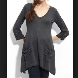 Ella Moss Charcoal Grey Toll Tab Sleeve Tunic